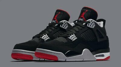 """AIR JORDAN 4 RETRO 308497-060 """"BRED"""" Black Fire Red Cement Grey GS and Men's"""