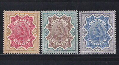 INDIA 1895 QV Victoria High Value Set of 3 MNH Gummed Reproduction Stamp sv