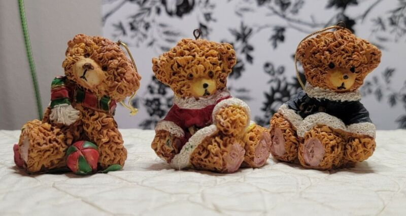 Lot Of 3 Christmas Resin? Teddy Bear Ornaments, All Different