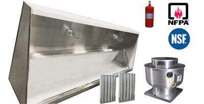 7 X 48 7 Ft Restaurant Kitchen Low Ceiling Sloped Front Hood Fan Fire System
