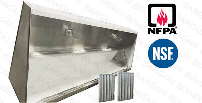 8 Ft Restaurant Commercial Kitchen Type I Exhaust Hood Low Profile Sloped Front