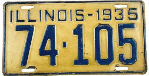 Illinois 1935 Vintage License Plate Antique Car Tag Garage Man Cave Gift Shorty