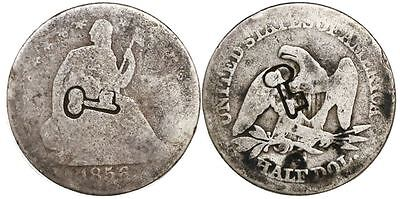 Click now to see the BUY IT NOW Price!  1872  77 50 CENTAVOS SHORT THICK KEY COUNTERMARKED 1856 S SEATED HALF