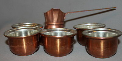 Antiquated COPPER TURKISH COFFEE  SET POT AND 5 CUPS