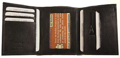 Mens  Slim Trifold Genuine Leather Wallet Credit Card Window ID License Black