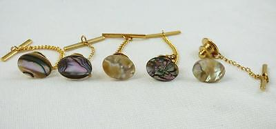 Natural Abalone Shell Oval Tie Tack 14 MM x 10 MM / Goldtone Findings