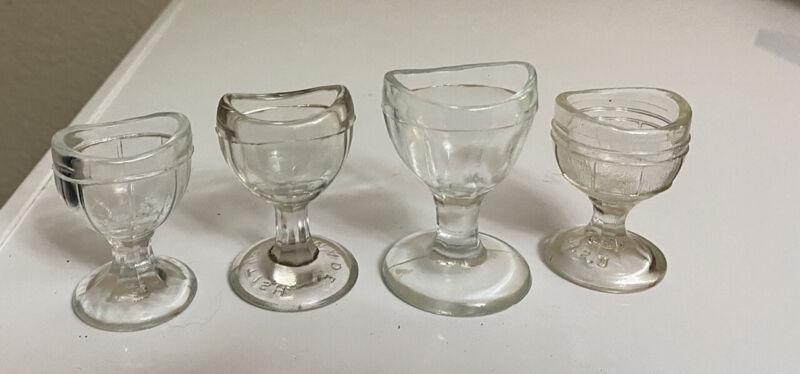 VINTAGE LOT OF FOUR (4) CLEAR GLASS EYE WASH CUPS Eye Wash Baths