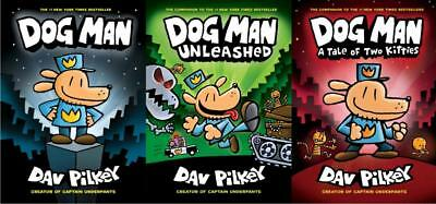 Dog Man Series Collection Set Books 1 3 Hardcover By Dav Pilkey Brand New