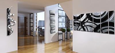 Silver & Black Contemporary Wall Art Sculpture / Painting 3 Piece Modern Art Set