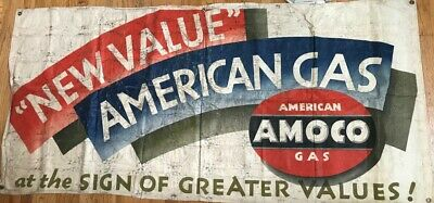 Vintage AMACO American Gas Station 76 x 36 inch Canvas Banner Sign