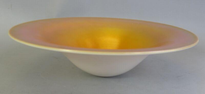 """Unique 12"""" STEUBEN Aurene Iridized Art Glass Bowl  c. 1920  Carder-era Deco"""