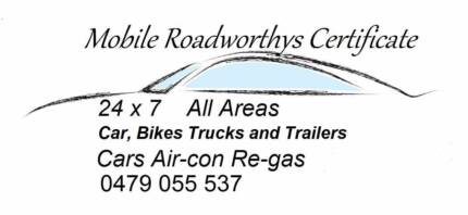 Mobile Roadworthys / HVRAS / ALL SUBURBS COVERED