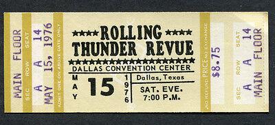 Original 1976 Bob Dylan Rolling Thunder Revue Full Concert Ticket Dallas Desire