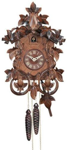 One Day Hand-carved Cuckoo Clock with Intricate Leaves and Vines -- 27-14