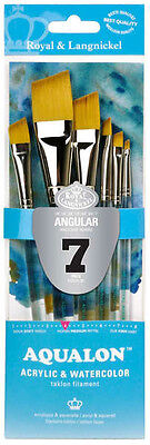 Royal & Langnickel Brush AQUALON Paint Brushes 7 Pc ANGULAR