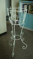 Large Retro White Metal Plant Stand