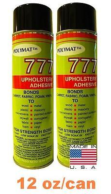 - 2 CANS Polymat 777 FOAM FABRIC SPEAKER BOX CARPET UPHOLSTERY SPRAY GLUE ADHESIVE