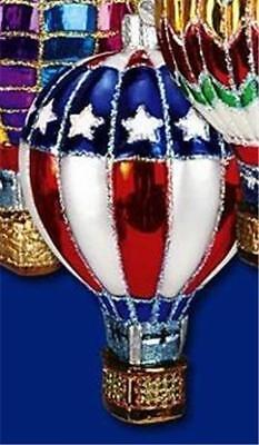 USA PATRIOTIC THEME HOT AIR BALLOON OLD WORLD CHRISTMAS GLASS ORNAMENT NWT 36056