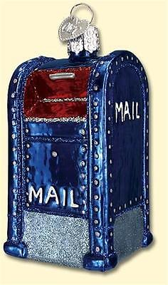 MAIL BOX OLD WORLD CHRISTMAS POSTAL SERVICE MAIL CARRIER GLASS ORNAMENT 36094