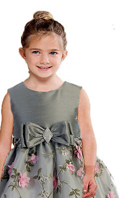 Posh Silver/Pink Floral Embroidered Flower Girl Holiday Dress, Crayon Kids USA - Classy Holiday Dresses