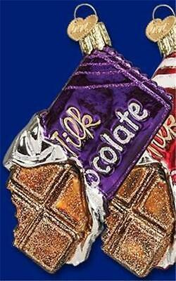 CHOCOLATE CANDY BAR PURPLE WRAPPER OLD WORLD CHRISTMAS GLASS ORNAMENT NWT 32211](Purple Candy Bar)