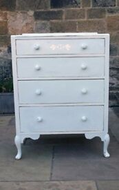 Vintage blue stencilled painted chest of drawers
