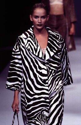(DOLCE & GABBANA F/W 1996 Runway Vintage Zebra Print Velvet Coat Sz IT 40 US 4)