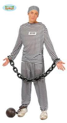 Costume Carcerato Uomo Galeotto Travestimento Carnevale Addio al Celibato nuovoM
