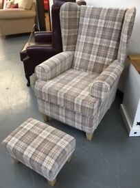 BRAND NEW wing backed armchairs with matching footstools, from £299.