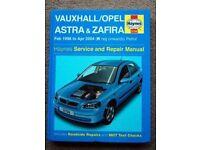 Vauxhall Astra & Zafira Haynes Service and Repair Manual 1998 - 2004 Petrol