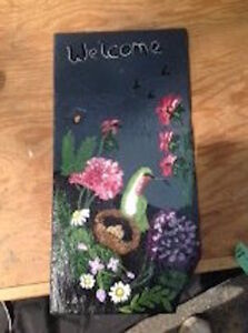 HAND PAINTED SLATE WELCOME SIGN