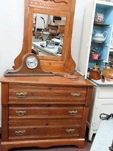 Beautiful Antique Solid Oak 3 Drawer Dresser with Mirror London Ontario image 1
