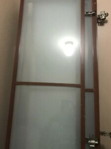 Stained white glass cabinet doors