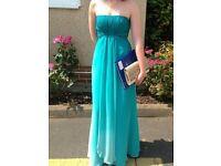 Debenhams debut aqua teal long strapless prom dress UK size 8