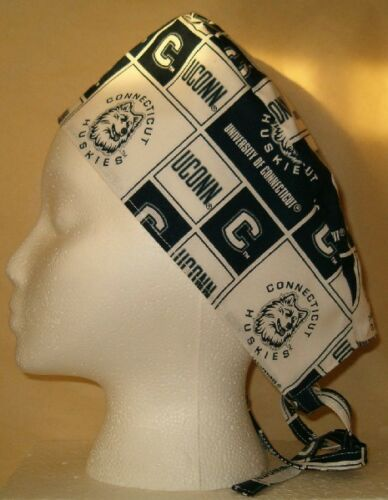 Surgical Scrub Hat Cap Made W University Of Connecticut Huskies Fabric Nurse ER