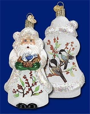 GLISTENING BIRD IN HAND SANTA CLAUS OLD WORLD CHRISTMAS GLASS ORNAMENT NWT 40235