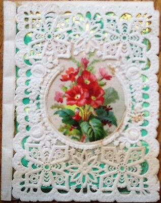 1890s Victorian Greeting Card: Hand-Made w/Lace & Poem, 'To My Favorite'