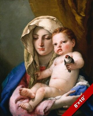 TIEPOLOS MADONNA & CHILD MARY & BABY JESUS & BIRD PAINTING ART REAL CANVAS PRINT