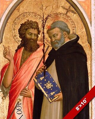 ST JOHN THE BAPTIST & DOMINIC PAINTING CHRISTIAN BIBLE ART REAL CANVAS...