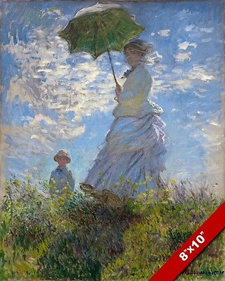 CLAUDE MONET WOMAN WITH UMBRELLA IMPRESSIONIST PAINTING ART REAL CANVAS PRINT