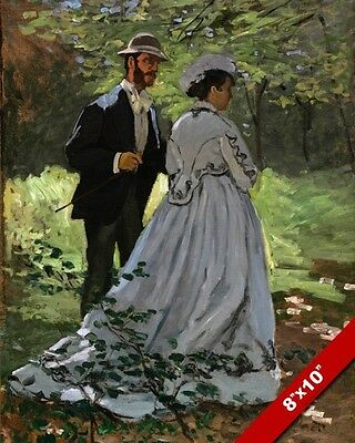 CLAUDE MONET COUPLE IN A GARDEN IMPRESSIONIST PAINTING ART REAL CANVAS PRINT