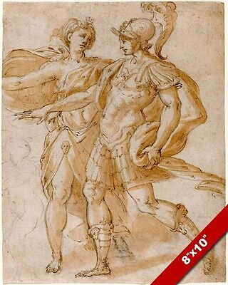 Roman Godesses (ROMAN GOD OF WAR MARS & GODESS OF THE MOON DIANA PAINTING ART REAL CANVAS)