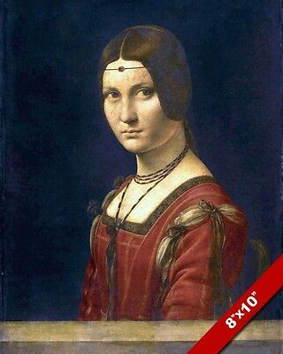 LEONARDO DA VINCI LA BELLE FERRONIERE WOMAN PAINTING REAL CANVAS ART PRINT