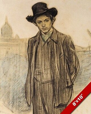 PORTRAIT OF YOUNG PABLO PICASSO BY RAMON CASAS PAINTING ART REAL CANVAS PRINT