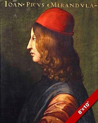 MENTOR OF MICHELANGELO PICO DELLA MIRANDOLA PAINTING ART REAL CANVAS PRINT