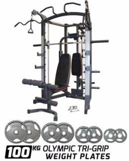 REEPLEX SM3800 SMITH MACHINE WEIGHT BENCH & 100KG OLYMPIC PACKAGE