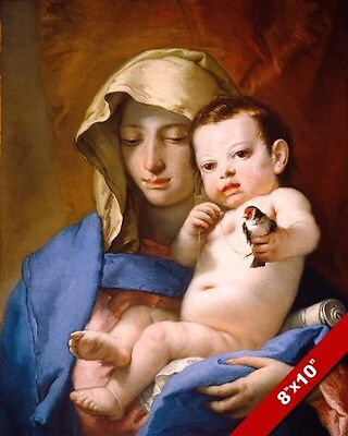 MADONNA MARY & BABY JESUS HOLDING BIRD PAINTING ART REAL CANVAS GICLEEPRINT