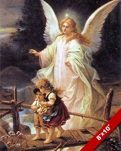 GUARDIAN ANGEL WATCHING OVER KIDS PAINTING BIBLE CHRISTIAN ART REAL CANVAS PRINT