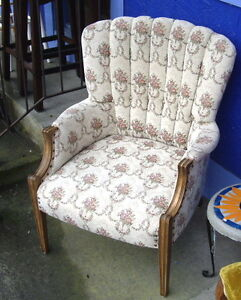 Older Queen Anne Style Chair with Wood Legs