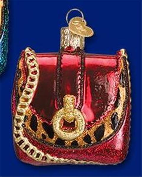 RED LEOPARD CHAIN PURSE OLD WORLD CHRISTMAS GLASS FASHION ORNAMENT NWT 32215